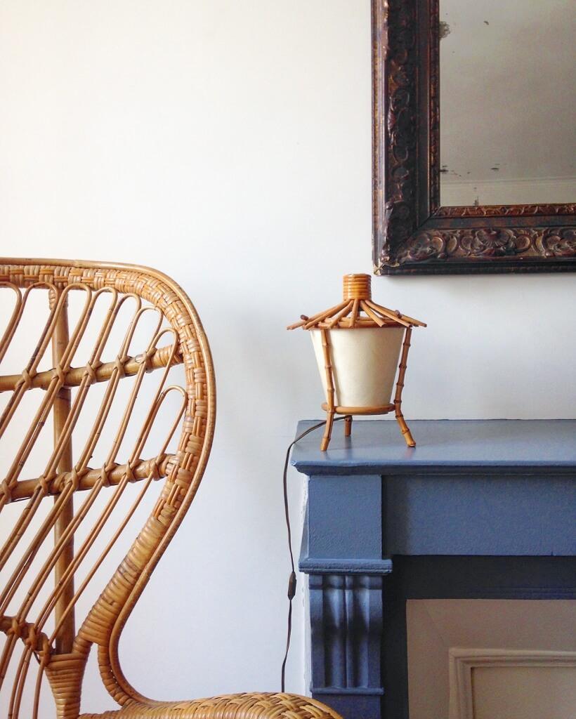 atelier vime lampe poser en rotin bambou et papier de riz. Black Bedroom Furniture Sets. Home Design Ideas