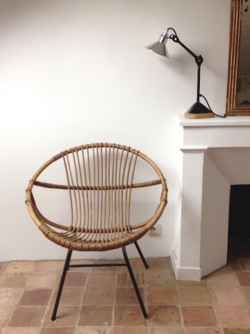 atelier vime fauteuil en rotin et m tal noir janine abraham. Black Bedroom Furniture Sets. Home Design Ideas
