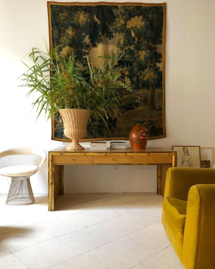 "Atelier Vime | Rattan ""Medici"" pedestal and vase, Atelier"