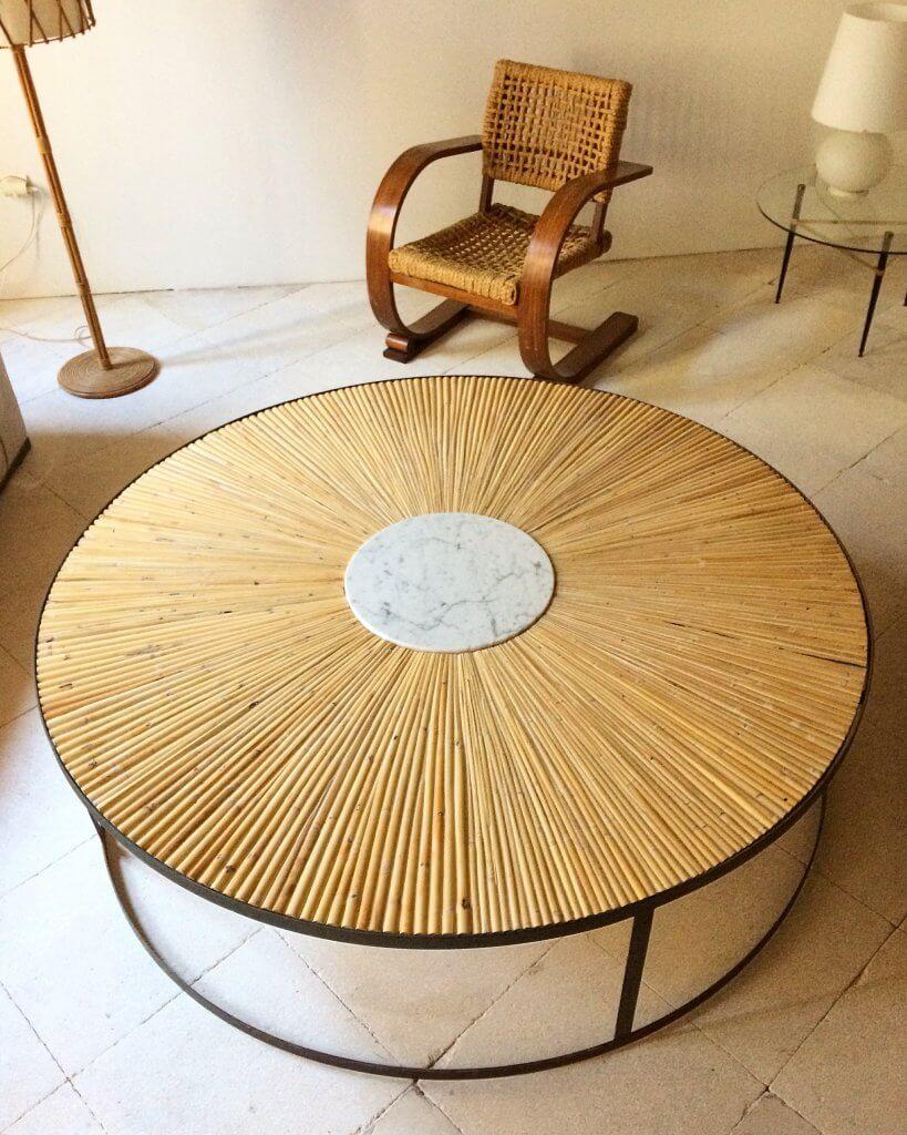 atelier vime table basse xxl en marqueterie de rotin atelier vime editions. Black Bedroom Furniture Sets. Home Design Ideas