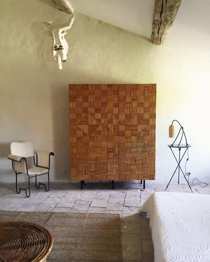 atelier vime | armoire en marqueterie de rotin