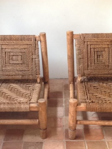Atelier Vime Pair Of Wood Amp Rope Low Chairs Audoux Minet